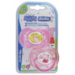 DODIE PEPPA PIG 2 SUCETTES ANATOMIQUES SILICONE 18 MOIS ET +