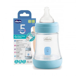 CHICCO BOTTLE PERFECT5 0M+150ML BLUE SILICONE