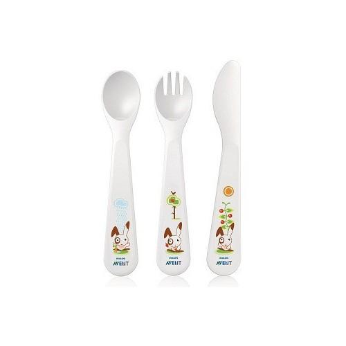 Avent Set de couverts 3ème âge / 18m+ (cuillère + fourchette + couteau)