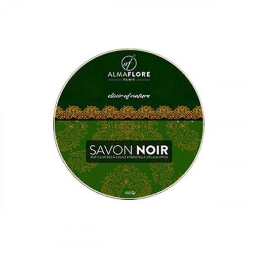 ALMAFLORE SAVON NOIR Olive BIO et Huile Essentielle d'Eucalyptus, 150gr