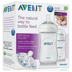 AVENT Lot de 2 Biberons Natural, 260ml