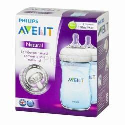 AVENT 2 biberons natural bleu,260 ml